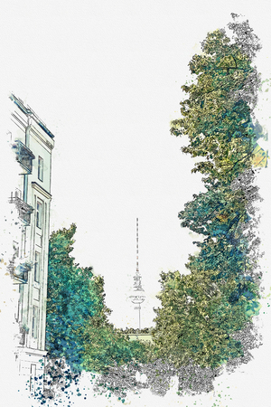 Watercolor sketch or illustration of a beautiful view of the TV tower among the trees and the street in Berlin in Germany. Stock Photo