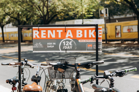Germany, Berlin, September 3, 2018: Bicycle rental on Berlin street. A popular means of transportation in Europe among tourists and local residents. Ecological transport. Redakční