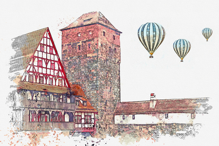 A watercolor sketch or an illustration of traditional German architecture in Nuremberg in Germany. Landmark executioner house. Hot air balloons are flying in the sky.