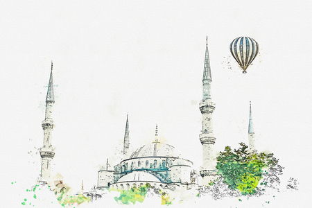 A watercolor sketch or illustration. The famous Blue Mosque in Istanbul is also called Sultanahmet. Turkey. Hot air balloon flies in the sky. Imagens - 114416850