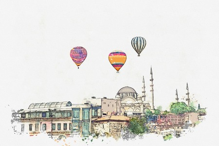 A watercolor sketch or illustration. The famous Blue Mosque in Istanbul is also called Sultanahmet. Turkey. Hot air balloons are flying in the sky.