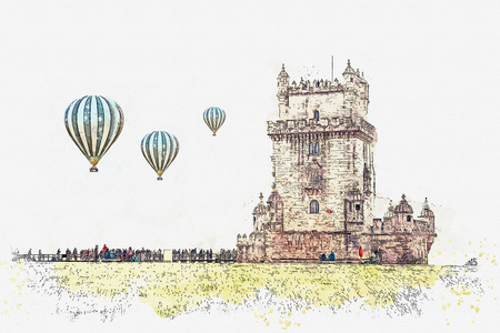 illustration. Torre de Belem or the Belem Tower is one of the attractions of Lisbon. The fortress was built in 1515-1521. Located in Belem district. Hot air balloons are flying in the sky. Stock Photo
