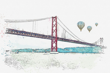 illustration Bridge called April 25 in Lisbon in Portugal. Hot air balloons are flying in the sky. Imagens