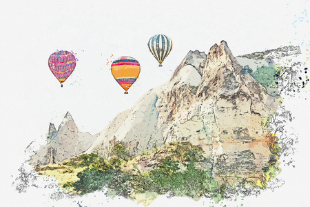 A watercolor sketch or illustration. Hot air balloons in the sky in Cappadocia in Turkey. The famous tourist attraction of Cappadocia is an air flight. Archivio Fotografico