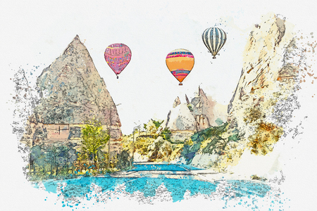 A watercolor sketch or illustration. Hot air balloons in the sky in Cappadocia in Turkey. The famous tourist attraction of Cappadocia is an air flight. Stock Photo