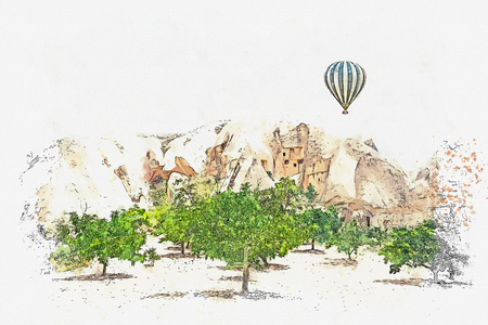 A watercolor sketch or illustration. Hot air balloon in the sky in Cappadocia in Turkey. The famous tourist attraction of Cappadocia is an air flight. Stock Photo