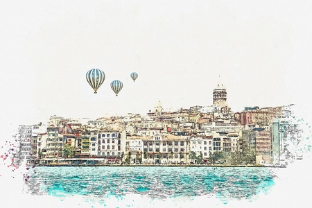 A watercolor sketch or illustration of a beautiful view of the traditional architecture in Istanbul, Turkey. Hot air balloons are flying in the sky.