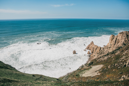 Beautiful view of the Atlantic Ocean from the western point on Cape Roca in Portugal.