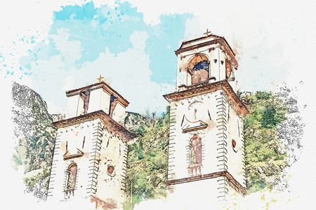 Watercolor sketch or illustration of the view of the Orthodox Church in Montenegro.