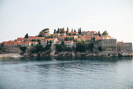 Beautiful view of the island of Sveti Stefan or Sveti Stefan in Montenegro. One of the famous sights of Montenegro.