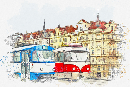 Watercolor sketch or illustration of traditional old-fashioned trams on a street in Prague in the Czech Republic. Reklamní fotografie - 124560540