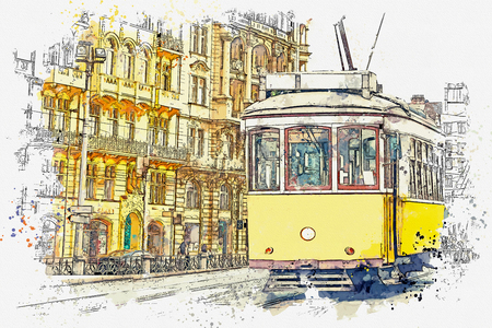 Watercolor sketch or illustration of a traditional yellow tram on a street in Lisbon in Portugal. Reklamní fotografie - 124560542