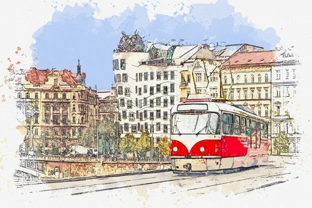 Watercolor sketch or illustration of a traditional old-fashioned tram on a street in Prague in the Czech Republic. Reklamní fotografie - 124560545