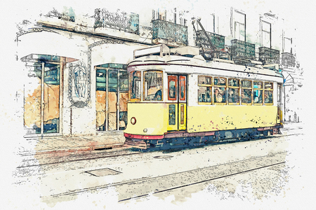 Watercolor sketch or illustration of a traditional yellow tram on a street in Lisbon in Portugal. Reklamní fotografie - 124560571