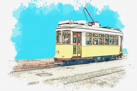 Watercolor sketch or illustration of a traditional yellow tram in Lisbon in Portugal. Reklamní fotografie - 124560572