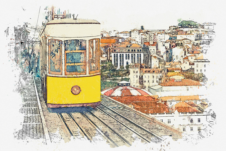 Watercolor sketch or illustration of a traditional yellow tram on a street in Lisbon in Portugal. Reklamní fotografie - 124560580
