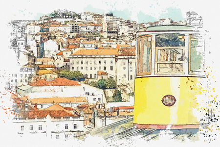 Watercolor sketch or illustration of a traditional yellow tram on a street in Lisbon in Portugal. Reklamní fotografie - 124560581