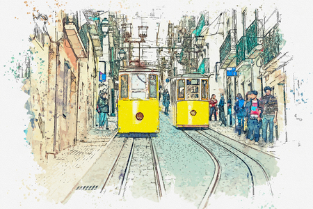 Watercolor sketch or illustration of a traditional yellow trams on a street in Lisbon in Portugal. Reklamní fotografie - 124560582