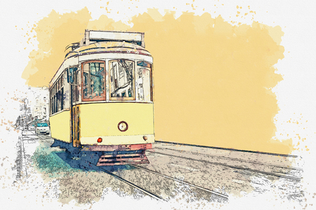 Watercolor sketch or illustration of a traditional yellow tram in Lisbon in Portugal.
