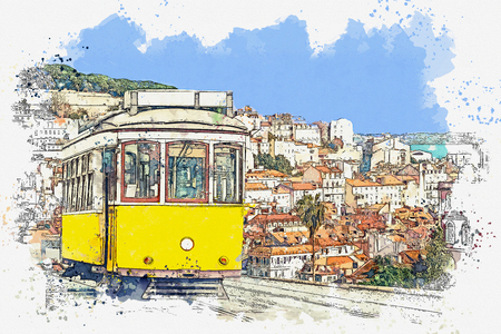 Watercolor sketch or illustration of a traditional yellow tram on a street in Lisbon in Portugal. Reklamní fotografie - 124560587