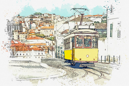 Watercolor sketch or illustration of a traditional yellow tram on a street in Lisbon in Portugal. Reklamní fotografie - 124560590