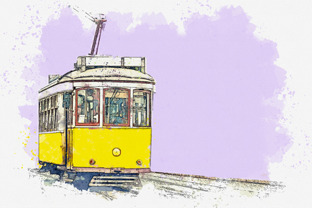 Watercolor sketch or illustration of a traditional yellow tram in Lisbon in Portugal. Reklamní fotografie - 124560592