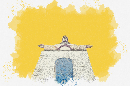 Watercolor sketch or illustration of the statue of Jesus Christ in Lisbon in Portugal. 스톡 콘텐츠