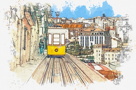 Watercolor sketch or illustration of a traditional yellow tram on a street in Lisbon in Portugal. Reklamní fotografie - 124560596