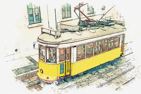 Watercolor sketch or illustration of a traditional yellow tram on a street in Lisbon in Portugal. Reklamní fotografie - 124560665