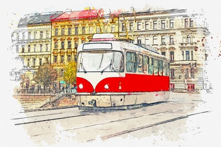 Watercolor sketch or illustration of a traditional old-fashioned tram on a street in Prague in the Czech Republic. Reklamní fotografie - 124560673