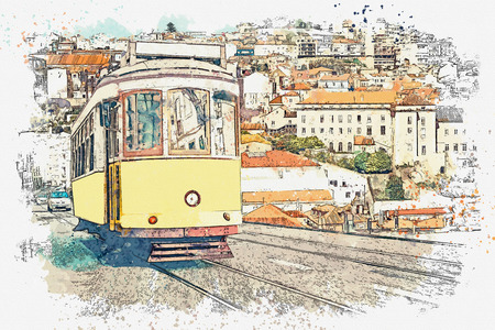 Watercolor sketch or illustration of a traditional yellow tram on a street in Lisbon in Portugal. Reklamní fotografie - 124560682