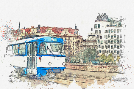 Watercolor sketch or illustration of a traditional old-fashioned tram on a street in Prague in the Czech Republic. Reklamní fotografie