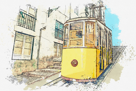 Watercolor sketch or illustration of a traditional yellow tram on a street in Lisbon in Portugal. Reklamní fotografie - 124560761