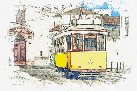 Watercolor sketch or illustration of a traditional yellow tram on a street in Lisbon in Portugal. Reklamní fotografie - 124560765