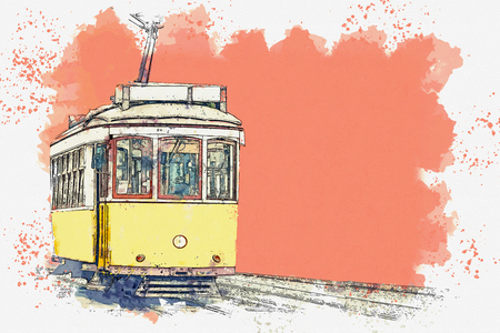 Watercolor sketch or illustration of a traditional yellow tram in Lisbon in Portugal. Reklamní fotografie - 124560767