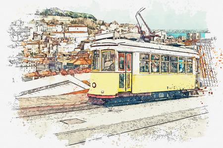 Watercolor sketch or illustration of a traditional yellow tram on a street in Lisbon in Portugal. Reklamní fotografie - 124560768