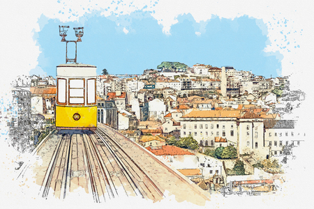 Watercolor sketch or illustration of a traditional yellow tram on a street in Lisbon in Portugal. Reklamní fotografie - 124560769