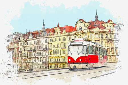 Watercolor sketch or illustration of a traditional old-fashioned tram on a street in Prague in the Czech Republic. Reklamní fotografie - 124560772