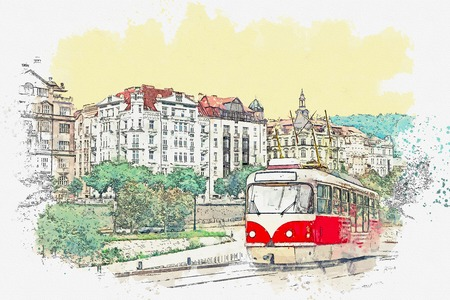 Watercolor sketch or illustration of a traditional old-fashioned tram on a street in Prague in the Czech Republic. Reklamní fotografie - 124560774