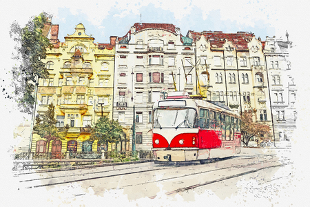 Watercolor sketch or illustration of a traditional old-fashioned tram on a street in Prague in the Czech Republic. Reklamní fotografie - 124560775