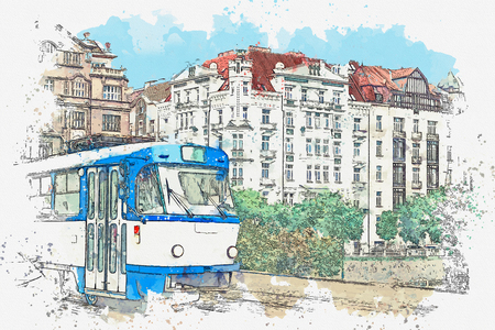 Watercolor sketch or illustration of a traditional old-fashioned tram on a street in Prague in the Czech Republic. Reklamní fotografie - 124560776