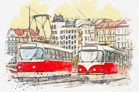 Watercolor sketch or illustration of traditional old-fashioned trams on a street in Prague in the Czech Republic.