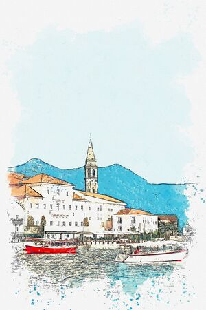 Watercolor sketch or illustration of a view of a house with many Windows and balconies of a beautiful view of Perast in Montenegro.