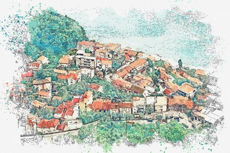 Watercolor sketch or illustration of a view of a small coastal town in Montenegro. Stock Photo