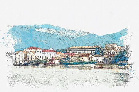 Watercolor sketch or illustration of a view of the architecture or buildings in Tivat in Montenegro. A small coastal tourist town. Stock fotó