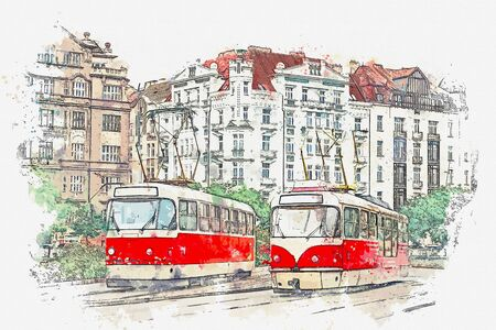 Watercolor sketch or illustration of traditional old-fashioned trams on a street in Prague in the Czech Republic. Stock Photo