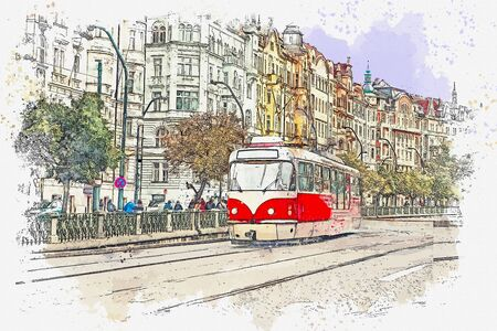 Watercolor sketch or illustration of a traditional old-fashioned tram on a street in Prague in the Czech Republic.
