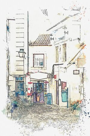 Watercolor sketch or illustration of a view of an empty European street Stock Photo