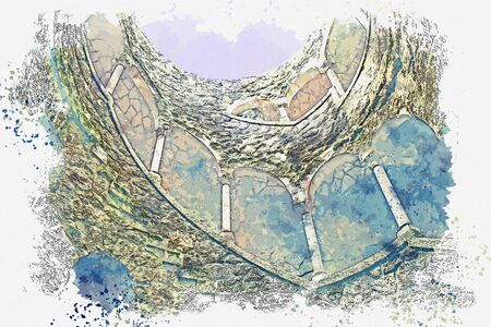 Watercolor sketch or illustration. Initiatic Well in Sintra in Portugal. Ancient underground tower with stone steps. Фото со стока