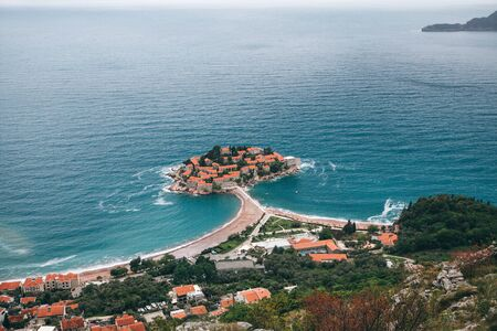Beautiful view of the island of Sveti Stefan or Saint Stephen in Montenegro. One of the famous sights of Montenegro.